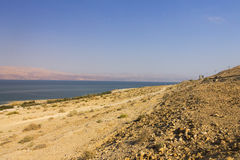 Beautiful view on the Dead sea beach and the coast on the other side of the sea Royalty Free Stock Photos