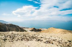 Beautiful view of the Dead Sea from the mountain valley of Jordan royalty free stock photography