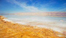 Beautiful view of Dead Sea shore with clear water. Ein Bokek, Israel. Beautiful view of salty Dead Sea shore with clear water. Ein Bokek, Israel royalty free stock image
