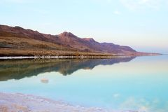 Beautiful view of Dead Sea shore with clear water. Ein Bokek, Israel. Beautiful view of salty Dead Sea shore with clear water. Ein Bokek, Israel royalty free stock photos