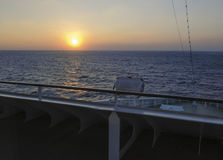Beautiful view from deck of cruise ship at sunrise dawn.  Royalty Free Stock Photos