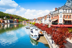 Beautiful view of Dinant cityscape on Meuse river Royalty Free Stock Photo