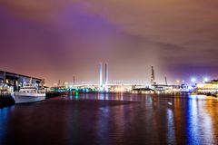A beautiful view of docklands and The Bolte Bridge with a cloudy sky Royalty Free Stock Image