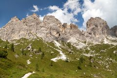 Beautiful view from dolomites mountains, Italy Stock Images