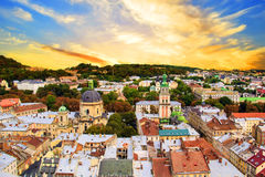 Beautiful view of the Dominican Cathedral, the Assumption Church and the historic center of Lviv, Ukraine Royalty Free Stock Images