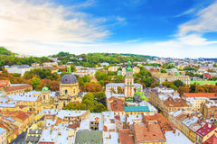Beautiful view of the Dominican Cathedral, the Assumption Church and the historic center of Lviv, Ukraine Stock Photography