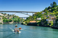 The beautiful view of the Douro River  in Porto, Portugal. Royalty Free Stock Photography