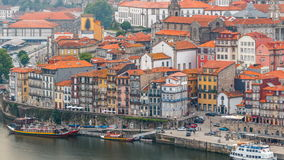 Beautiful view of the Douro River timelapse and. Beautiful view of the Douro River  timelapse  and the embankment of the historic centre of Porto city on the stock footage