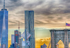 Beautiful view of Downtown buildings, New York City Royalty Free Stock Image