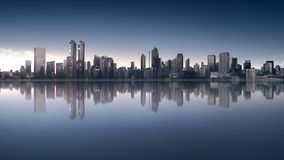 Beautiful view of downtown with modern architecture. At sunrise Stock Photo