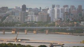 Beautiful view of bridge in Novosibirsk. Beautiful view of downtown Novosibirsk in Russia stock video footage