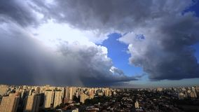 Beautiful view of dramatic dark stormy sky. The rain is coming soon. Pattern of the clouds over city. stock video