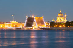 Beautiful view of the drawn Palace Bridge in St. Petersburg Royalty Free Stock Images