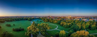 The beautiful view from a drone at the Englischer Garten of Munich at a early morning stock images
