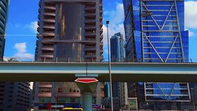 Beautiful view of Dubai metro, modern skyscrapers and towers on sheikh Zayed road in Dubai city