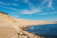 Dune of Pylat in Arcachon. Beautiful view on Dune of Pylat Arcachon is the tallest sand dune in Europe stock photo