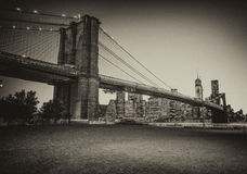 Beautiful view at dusk of Brooklyn Bridge from Brooklyn Park - N Stock Photo