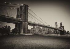 Beautiful view at dusk of Brooklyn Bridge from Brooklyn Park - N Stock Photo