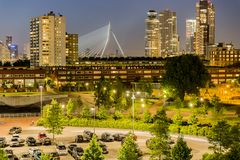 Beautiful view of the Dutch city of Rotterdam at night royalty free stock images