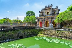 Beautiful view of the East Gate (Hien Nhon Gate), Hue. Scenic view of the East Gate (Hien Nhon Gate) to the Citadel and a moat surrounding the Imperial City with stock photography