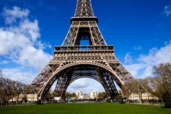 Beautiful view of The Eiffel Tower in Paris. On a sunny day Royalty Free Stock Image