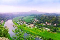 Beautiful view of Elbe river next to Bastei Royalty Free Stock Photography