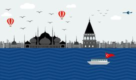 Beautiful view of the embankment of Turkey Istanbul to the blue vector illustration