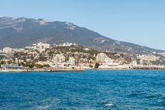 Beautiful view on embankment of Yalta. Sunny day. Royalty Free Stock Photos