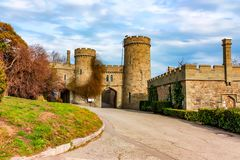Entrance to Vorontsov Palace on sunny day. Beautiful view of entrance to Vorontsov Palace in Crimea on sunny day Stock Images