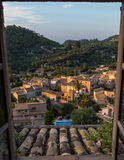 Beautiful view on Estellencs during sunset, Mallorca, Spain. Beautiful view on Estellencs during sunset from a hotel window, Mallorca, Spain Royalty Free Stock Image