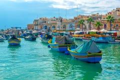 Beautiful view of european harbor with village Marsaxlokk, marke Royalty Free Stock Images