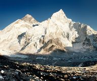 View of Everest and Nuptse from Kala Patthar Royalty Free Stock Images