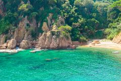 Beautiful view of exotic bay, coast and a blue lagoon. Catalonia, Spain. stock photo