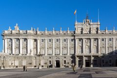 Beautiful view of the facade of the Royal Palace of Madrid, Spain Royalty Free Stock Images