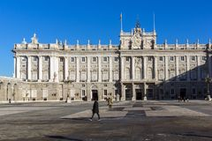 Beautiful view of the facade of the Royal Palace of Madrid, Spain Stock Image