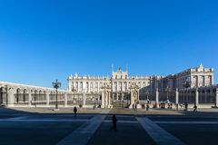 Beautiful view of the facade of the Royal Palace of Madrid, Spain Stock Images