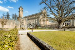 Abbaye Notre-Dame d`Orval, Belgium. Beautiful view of famous Abbaye Notre-Dame d`Orval, a Cistercian monastery founded in 1132, Gaume region, Belgium stock photo