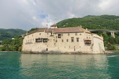 Beautiful view of famous Chateau de Chillon at Lake Geneva.  stock images