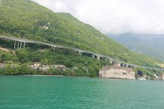 Beautiful view of famous Chateau de Chillon at Lake Geneva.  royalty free stock images