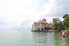 Beautiful view of famous Chateau de Chillon at Lake Geneva.  stock photos