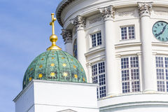 Beautiful view of famous Helsinki Cathedral over blue sky, Helsi Royalty Free Stock Photo