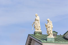 Beautiful view of famous Helsinki Cathedral over blue sky, Helsi Stock Photo