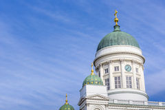 Beautiful view of famous Helsinki Cathedral over blue sky, Helsi Stock Image