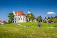 Famous Wieskirche pilgrimage church, Bavaria, Germany. Beautiful view of famous oval rococo Pilgrimage Church of Wies Wieskirche, a UNESCO World Heritage Site Royalty Free Stock Photos