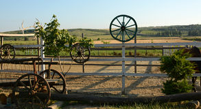 Beautiful view of a farm, a ranch, a pen for horses Royalty Free Stock Photography