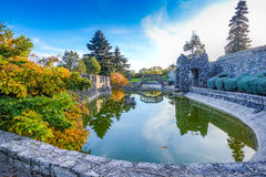 Beautiful view of Ferrari`s garden, Stanjel, Slovenia, Europe stock images