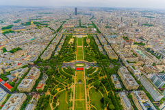 Beautiful view of fields in Champ de Mars, Paris Royalty Free Stock Photo