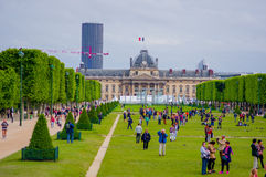 Beautiful view of fields in Champ de Mars, Paris Royalty Free Stock Image