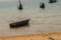 Beautiful view of fisherman boats moored on the beach of fisherm Stock Image