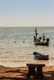 Beautiful view of fisherman boats moored on the beach of fisherm Royalty Free Stock Image